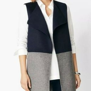 Talbot's Double Face Fly Away Vest Grey/Navy NEW